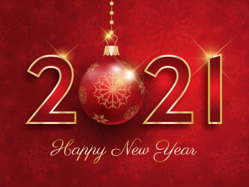Happy New Year background with hanging bauble